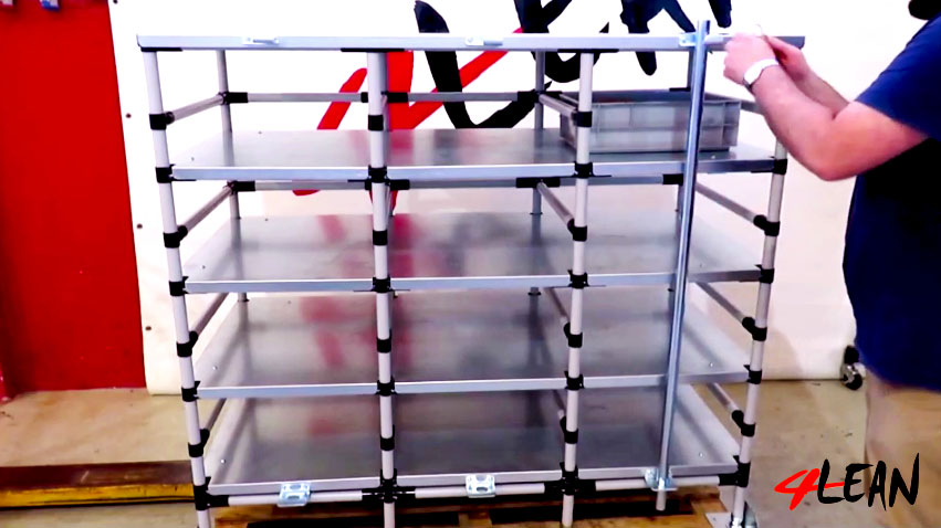 Lean Manufacturing - 4Lean - Box Straight Plate Rack Workstation