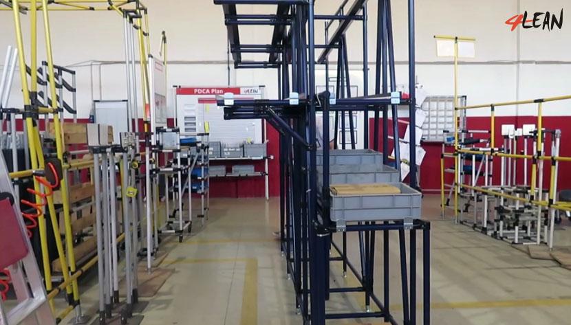 Lean Manufacturing - 4Lean - Box Tilt Rolls Cantilever Rack Mizusumashi