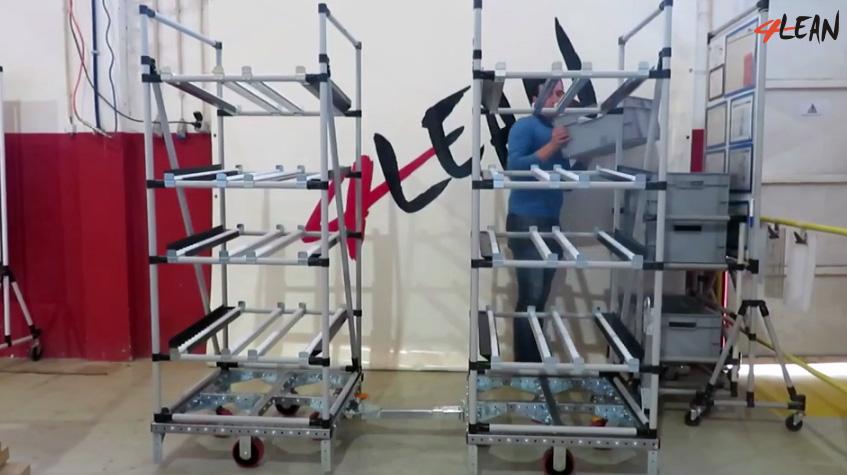 Lean Manufacturing - 4Lean - Mizusumashi - Modular - Box Tilt Rolls Wagon